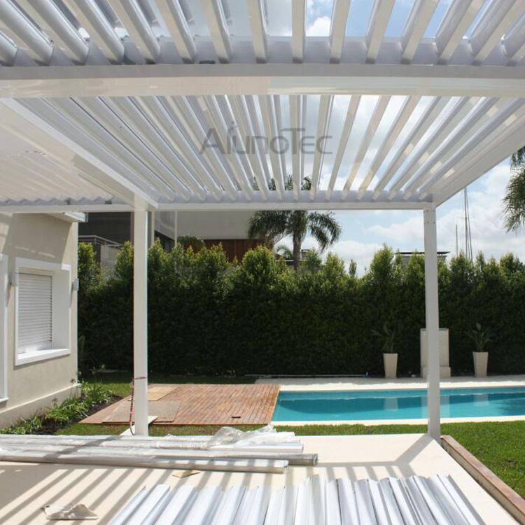 Aluminum Outdoor Pergola Covers attached to house with Side blinds - Aluminum Outdoor Pergola Covers Attached To House With Side Blinds